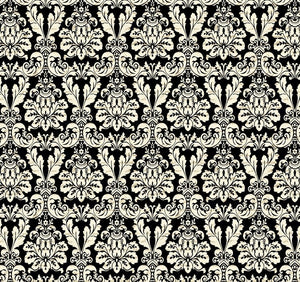 Joyeux Noel - Large Damask (Black)