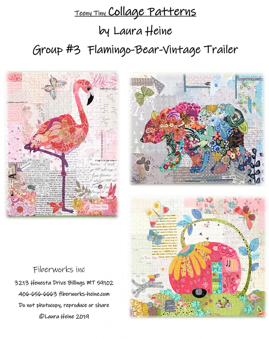 Teeny Tiny Collage Pattern - Flamingo, Bear, Vintage Trailer