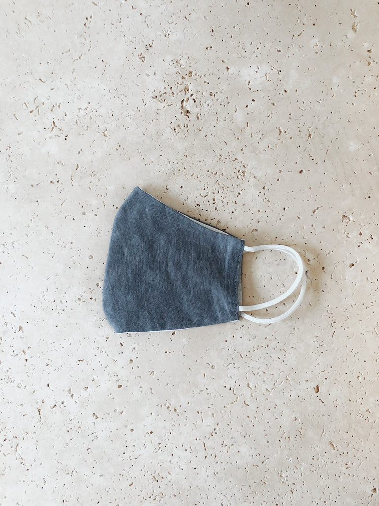 LINEN FACE MASK | Grey Blue