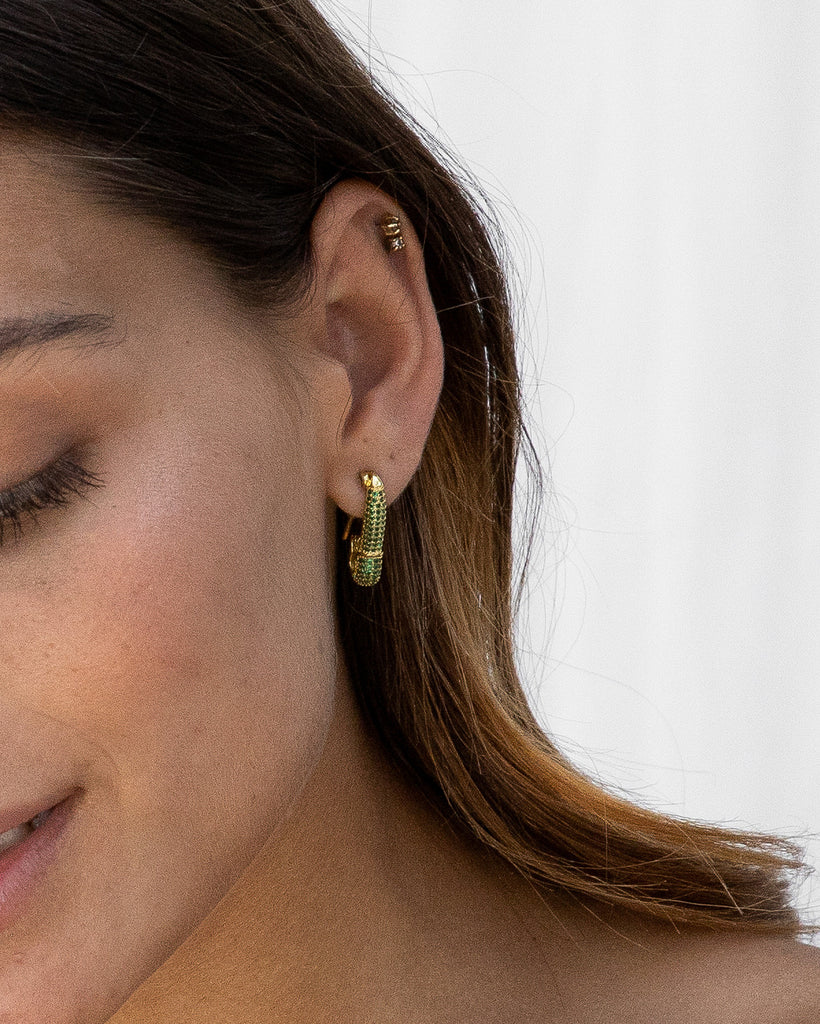 the bare sea ava safety pin earring on model