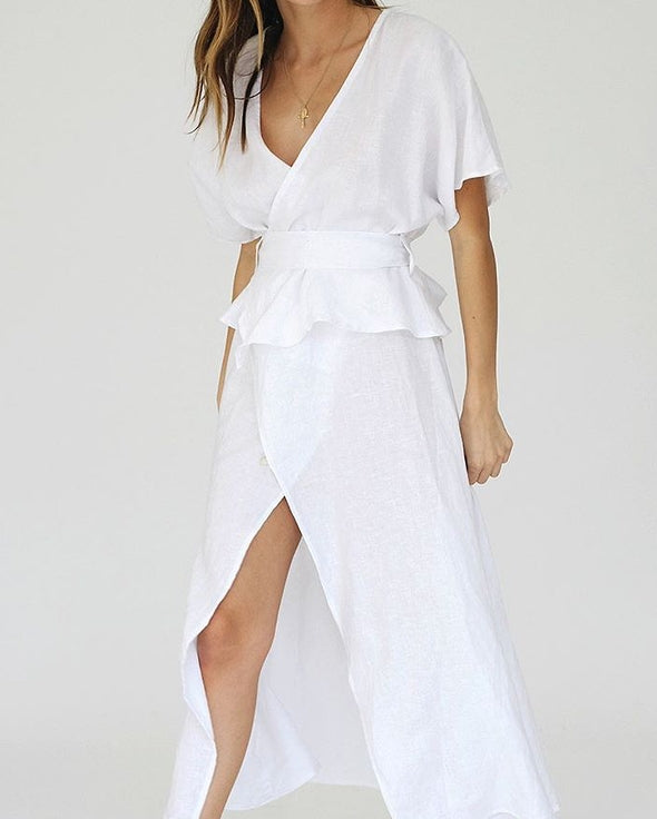 LJC Designs white linen dress the bare sea