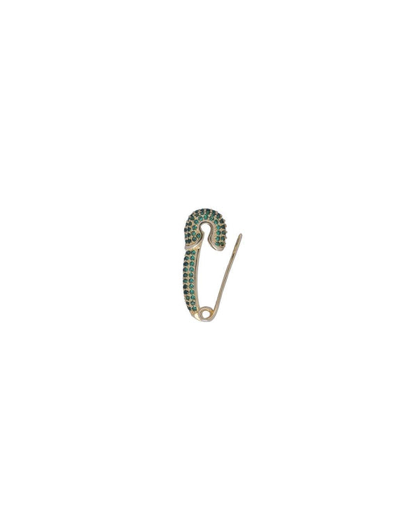 AVA Pin Earring Green | 18K Gold Plated