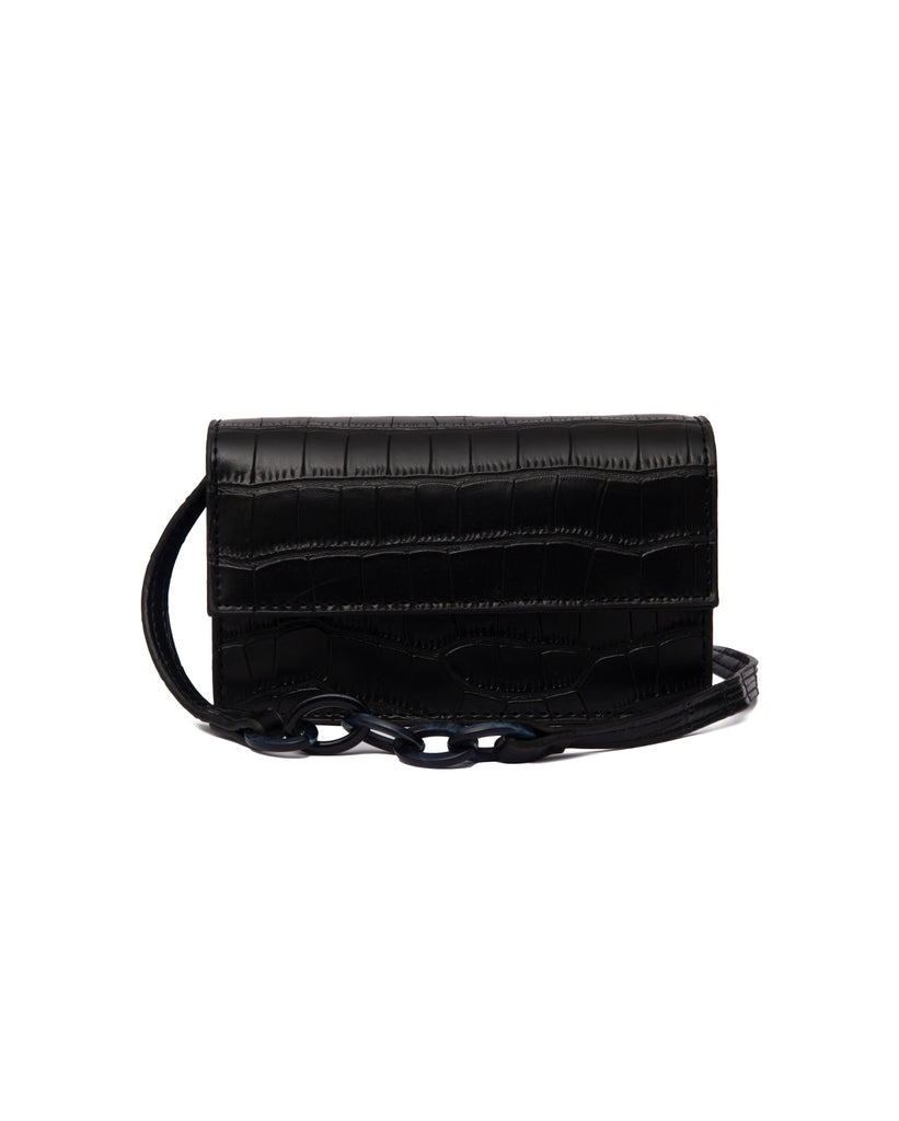 the bare sea avery baby bag faux black croc leather