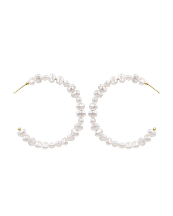JOAN Irregular Pearl Hoop Earrings