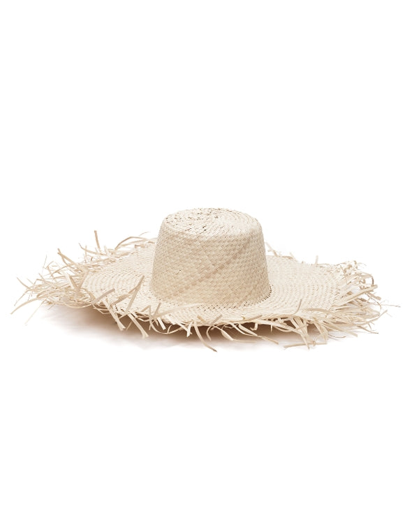 the bare sea fringed straw hat