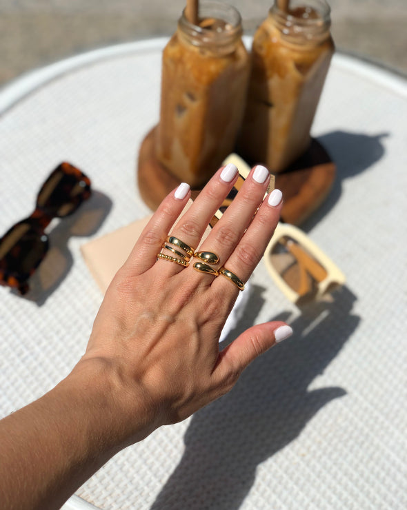 the bare sea gold plated rings on hand