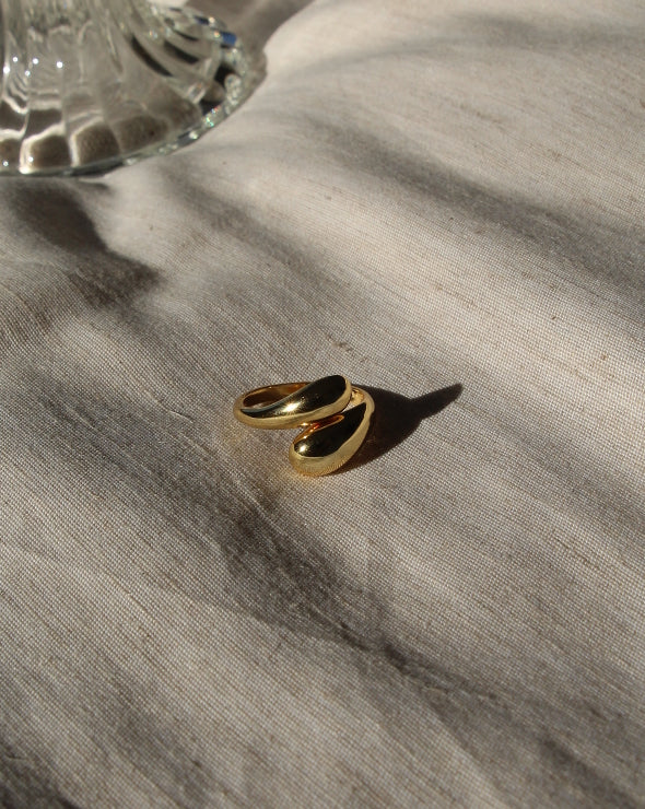 Double Teardrop Ring | 18K Gold Plated