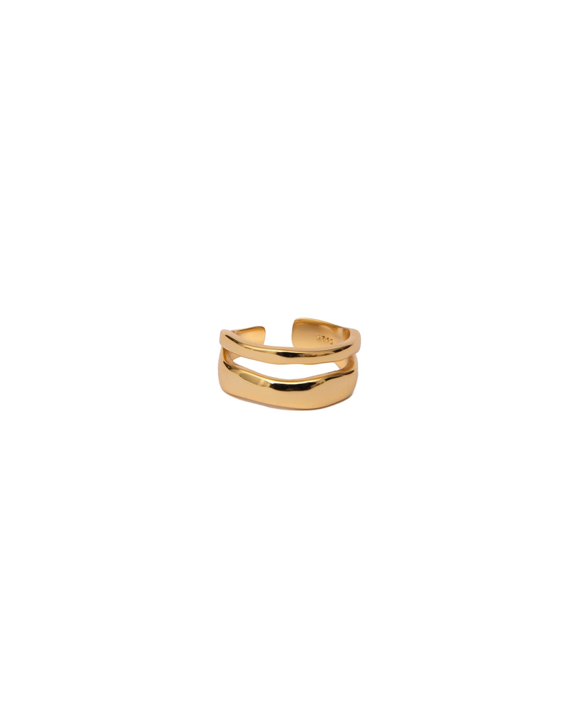 Dual Abstract Ring | 18K Gold Plated
