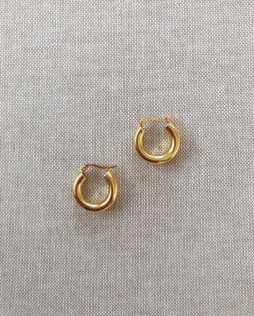 RUBY Mini Hoops | 14K Gold Plated