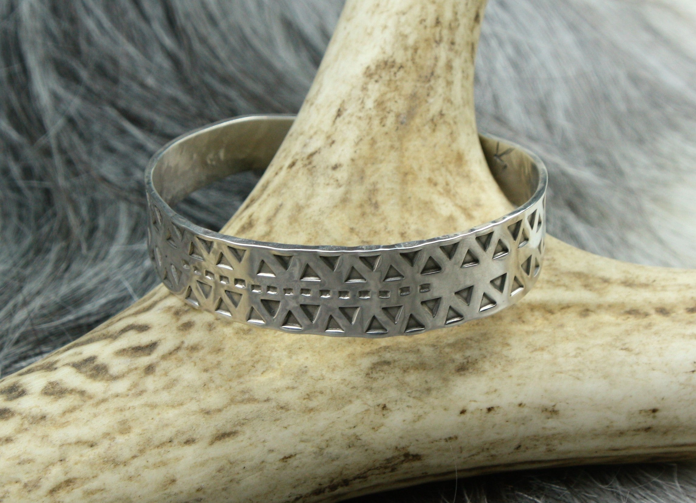 Hand Stamped Viking Arm Ring in Sterling Silver