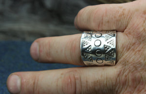 Large Hand Stamped Ring in Sterling Silver