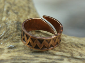 Triangle Hand Stamped Bronze Ring