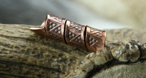Triple Twist Hand Stamped Beard Bead in Bronze