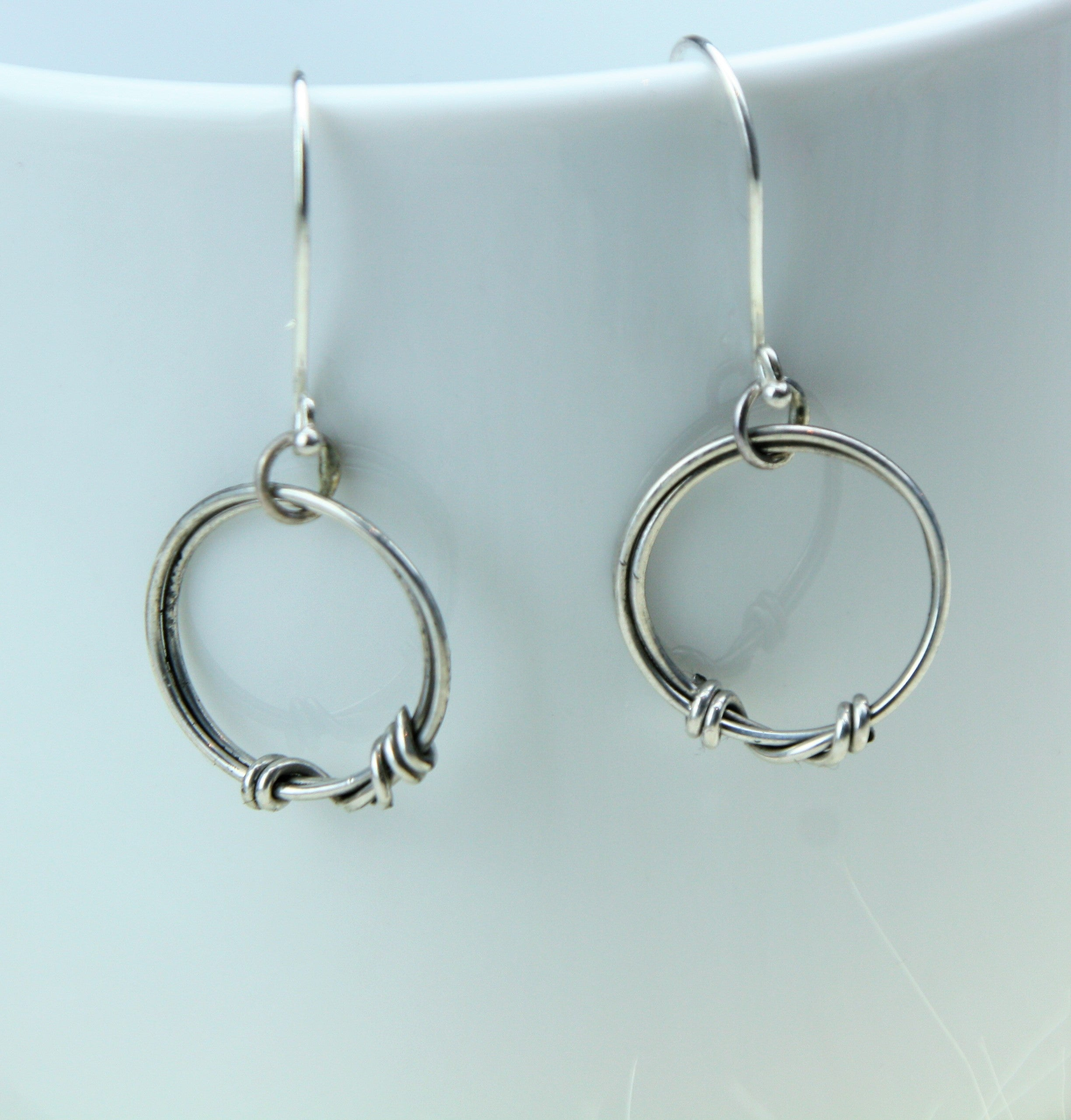 small Suspension hoop earrings in sterling silver
