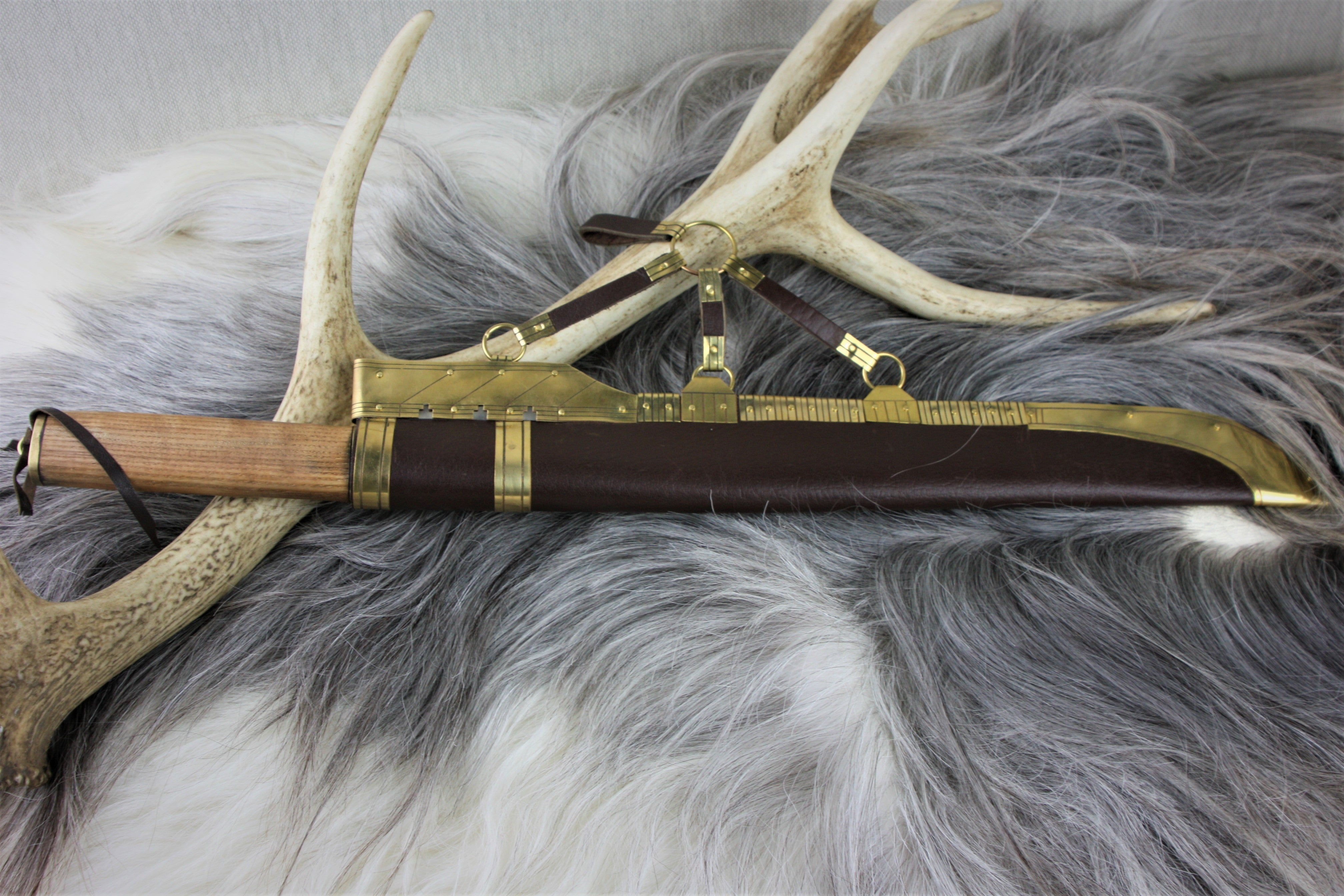 Reenactment Line seax with decorated scabbard