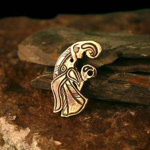Viking Raven Clothes Pin Bird Brooch in Bronze