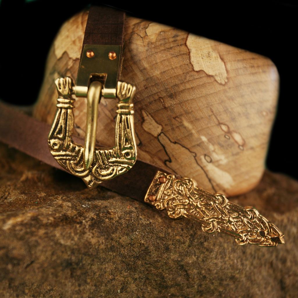 Leather belt with Bronze Birka Fittings