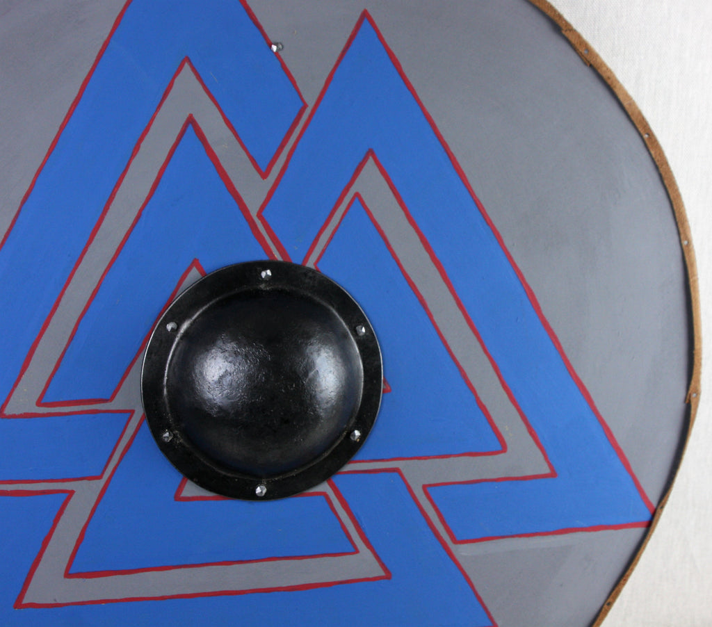 Grey with Blue Valknut Shield