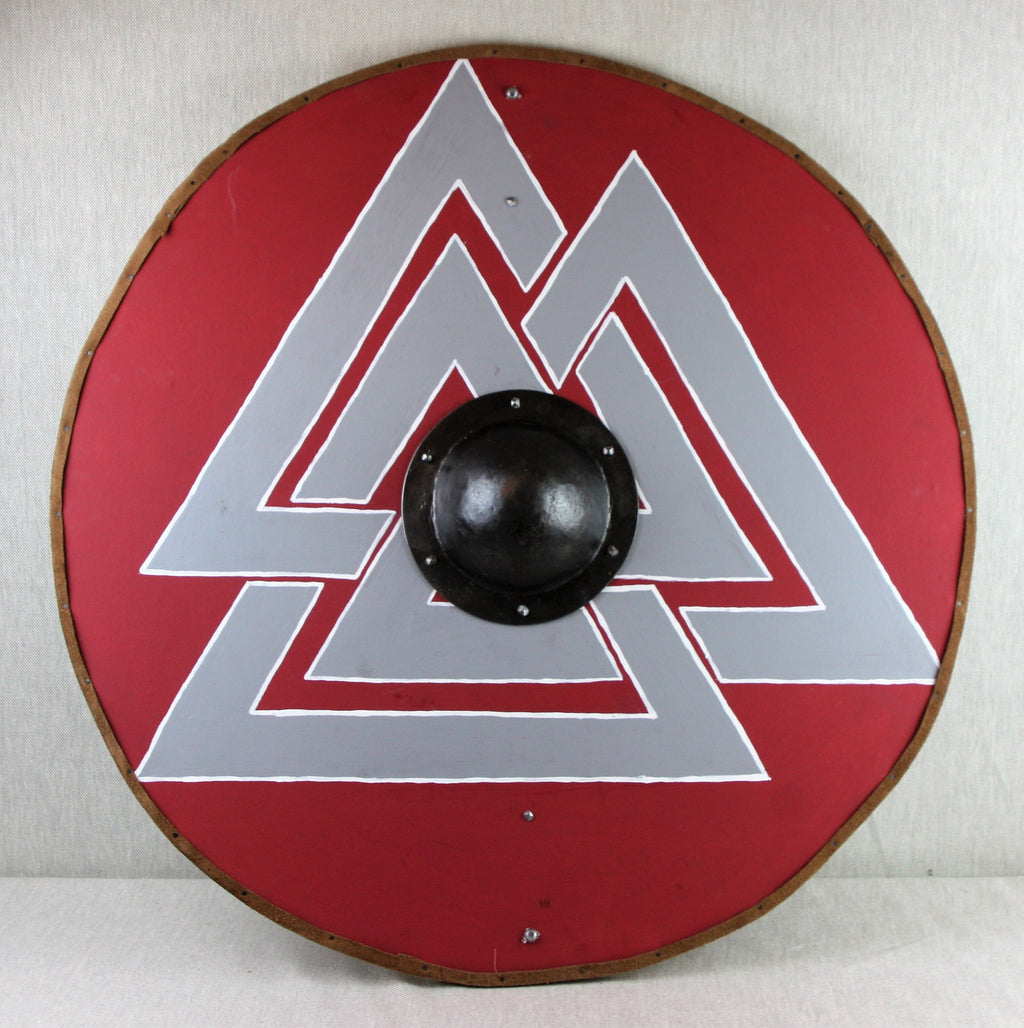Red Grey Valknut Shield
