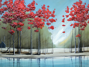"""Red Trees #1"" Giclee canvas print by Thomas Andrew - Thomasandrewartwork"