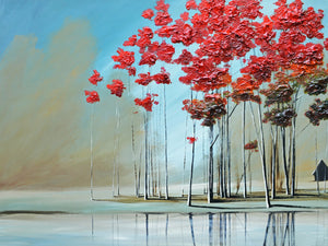 """Red Trees #3"" Giclee canvas print by Thomas Andrew - ThomasAndrewArtwork"