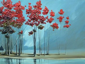 """Red Trees #2"" Giclee canvas print by Thomas Andrew - Thomasandrewartwork"