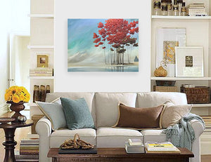 """Beautiful Red Cluster by the Water's Edge"" print by Thomas Andrew"