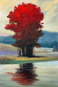 """Blazing Reds by the Water"" print by Thomas Andrew - Thomasandrewartwork"