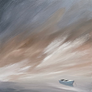 """Blue Boat Sunset"" Rustic / Giclee canvas print by Thomas Andrew - Thomasandrewartwork"