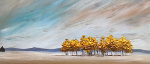"""Cabin by a Family of Aspens"" Giclee canvas print by Thomas Andrew - Thomasandrewartwork"