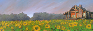 """Cabin in Sunflowers"" Narrow / Giclee canvas print by Thomas Andrew - Thomasandrewartwork"