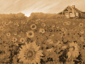 """Cabin in Sunflowers"" Rustic / Giclee canvas print by Thomas Andrew - Thomasandrewartwork"