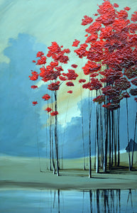 """Red Trees #5"" Giclee canvas print by Thomas Andrew - Thomasandrewartwork"