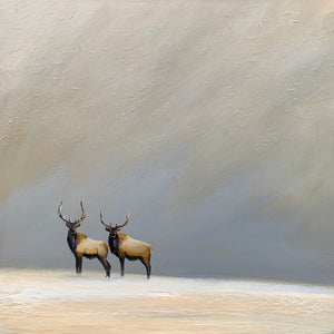 """Elk Together in the Wild"" series #2  / print by Thomas Andrew - Thomasandrewartwork"