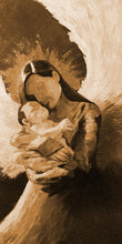 "Load image into Gallery viewer, ""In the Arms #2"" sepia / Giclee canvas print by Thomas Andrew - Thomasandrewartwork"