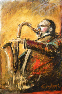 """Jazz Cat"" Giclee canvas print by Thomas Andrew - Thomasandrewartwork"