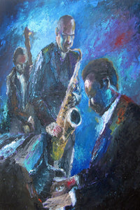 """Jazz Trio"" Giclee canvas print by Thomas Andrew - Thomasandrewartwork"