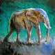 """Marching into the Light"" /Teal (Elephant series) - Signed print by Thomas Andrew - Thomasandrewartwork"