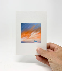 "5 x 7 Miniature / ""Blue Boat Sunset"" by Thomas Andrew - Thomasandrewartwork"