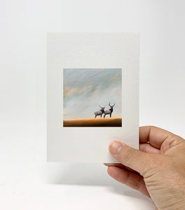 "5 x 7 Miniature / ""Elk Together #4"" by Thomas Andrew - Thomasandrewartwork"