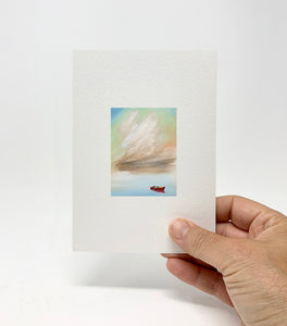 "5 x 7 Miniature / ""Red Boat, Big Cloud"" by Thomas Andrew - Thomasandrewartwork"