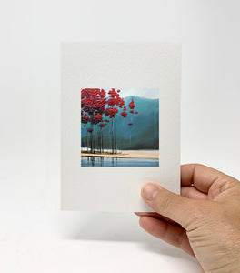 "5 x 7 Miniature / ""Red Trees #5"" by Thomas Andrew - Thomasandrewartwork"