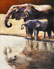 "Load image into Gallery viewer, ""At the Watering Hole"" Giclee canvas print by Thomas Andrew"