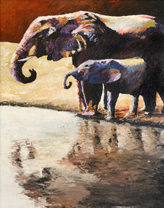 """At the Watering Hole"" (Elephant series) - Signed print by Thomas Andrew - Thomasandrewartwork"