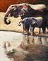"""At the Watering Hole"" (Elephant series) - Signed print by Thomas Andrew"