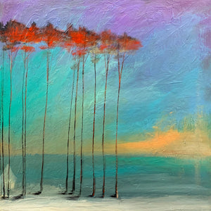 """Red Sunlight on the Trees"" Giclee canvas print by Thomas Andrew - Thomasandrewartwork"
