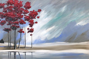 """Red Trees by the River's Edge"" Giclee canvas print by Thomas Andrew - Thomasandrewartwork"