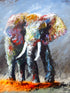 """Reigning Over the Orange"" (Elephant series) - Signed print by Thomas Andrew"
