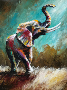 """Stomping Garnet & Gold"" (Elephant series) - Signed print by Thomas Andrew - Thomasandrewartwork"