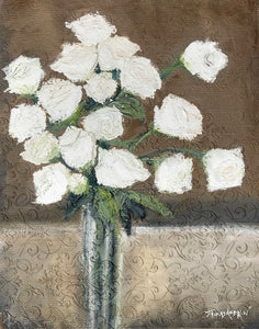 """White Roses on Fabric"" Giclee canvas print by Thomas Andrew - Thomasandrewartwork"